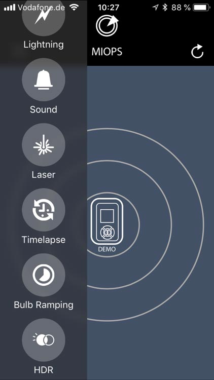 MIOPS Smart App Moduswahl