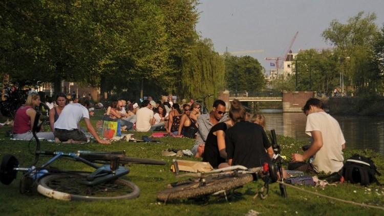 Amsterdam sunny spring netherlands
