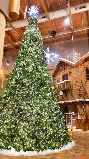 beautiful christmas tree in the great wolf lodge lobby stuffed suitcase