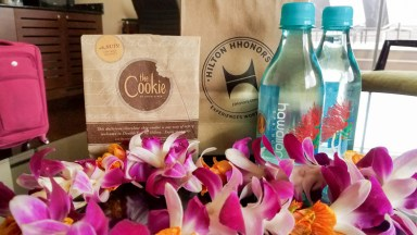 Aloha greeting at the DoubleTree with a lei, fresh baked cookie, and perks for Hilton Honors members!