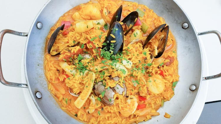 Seafood Paella at Schooners Cannery Row, Monterey, CA
