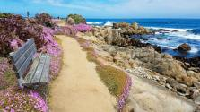 Lovely coastal walk path along Monterey Bay near Point Pinos Lighthouse