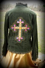 button up shirt, green cordouroy,long sleeved, applied cross on back