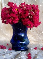 hand crafted blue glass vase