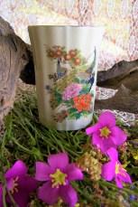 ceramic Japanese peacock cup
