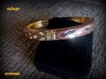 bangle bracelet, copper color resin,mirrored diamond pattern