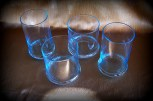 Sky blue glass drinking glasses (2 water glasses, 2 orange juice glasses