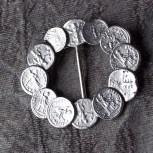 brooch / scarf pull, silvertone, imitation coins