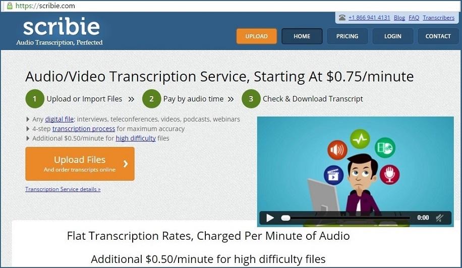 scribie online earning by transcription