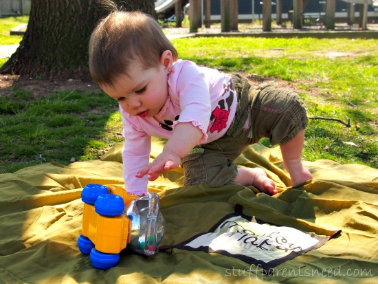 baby playing on monkey mat portable mat