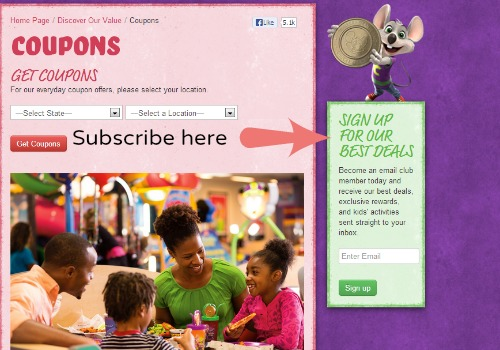 how to get chuck e. cheese coupons