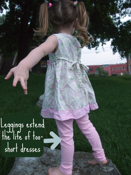 leggings from city threads help extend the life of too-short dresses