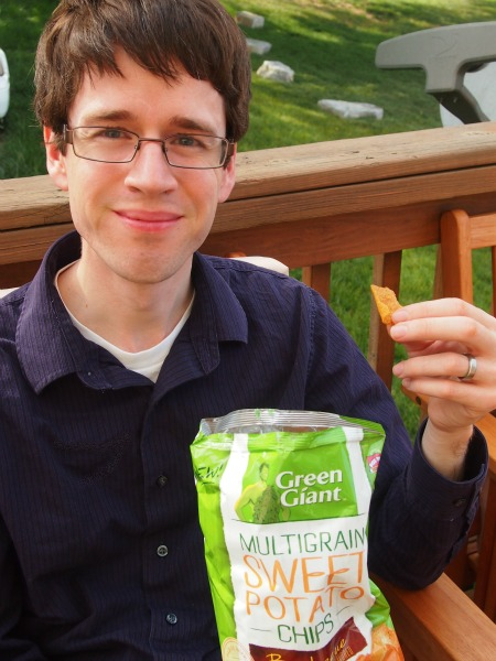 Tim loved the Sweet Potato (barbecue) chips from Green Giant! I had to eventually pry the bag from his hands so I could try them, too!