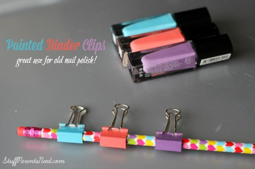 uses for old nail polish binder clips finished