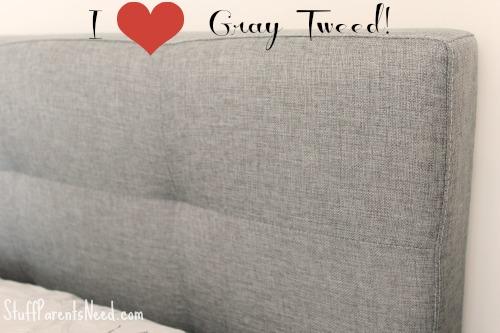 gray tweed bed