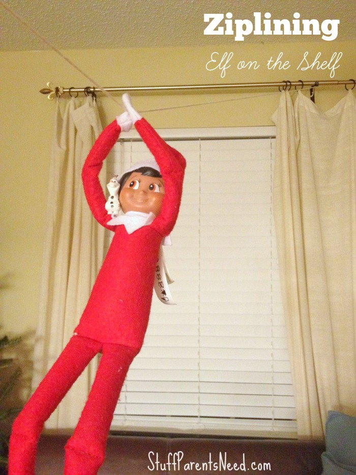 elf on the shelf ziplining