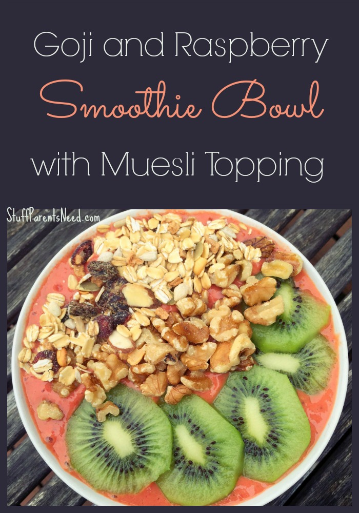 goji and raspberry smoothie bowl with muesli topping
