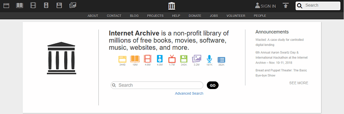 archive org homepage