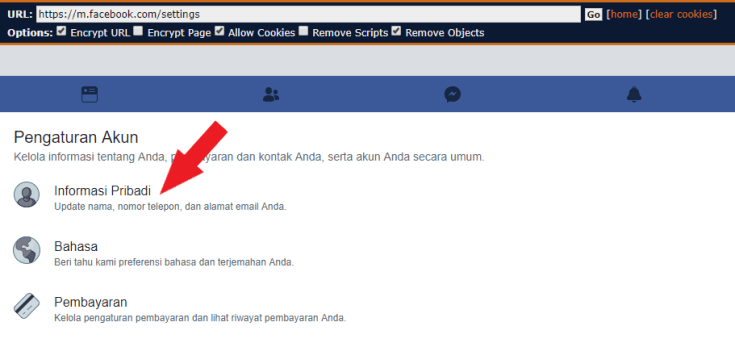 personal facebook settings mobile