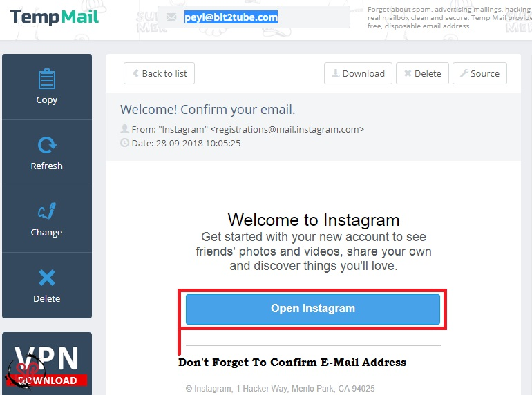 confirm instagram email address