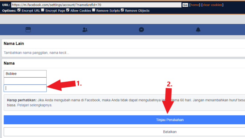facebook single name without proxy