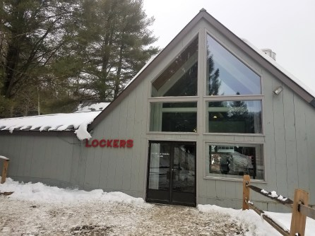 This building is the Clubhouse even though it's labeled Lockers. Inside are lockers and also a ski shop, info desk, and little cafe. The hot chocolate is great but, warning, it's almost $3.