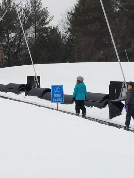 The area set aside for lessons has two areas with these people movers to get people up the slight slopes