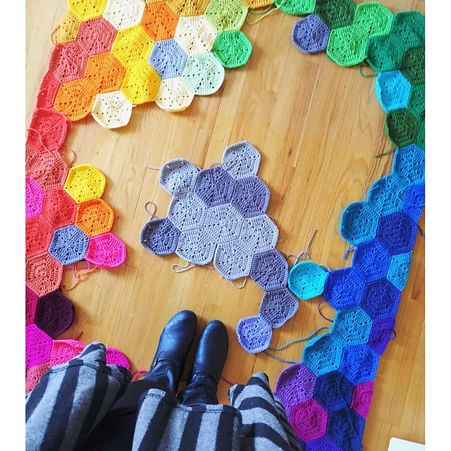 Rainbow Hexagon Blanket Chart