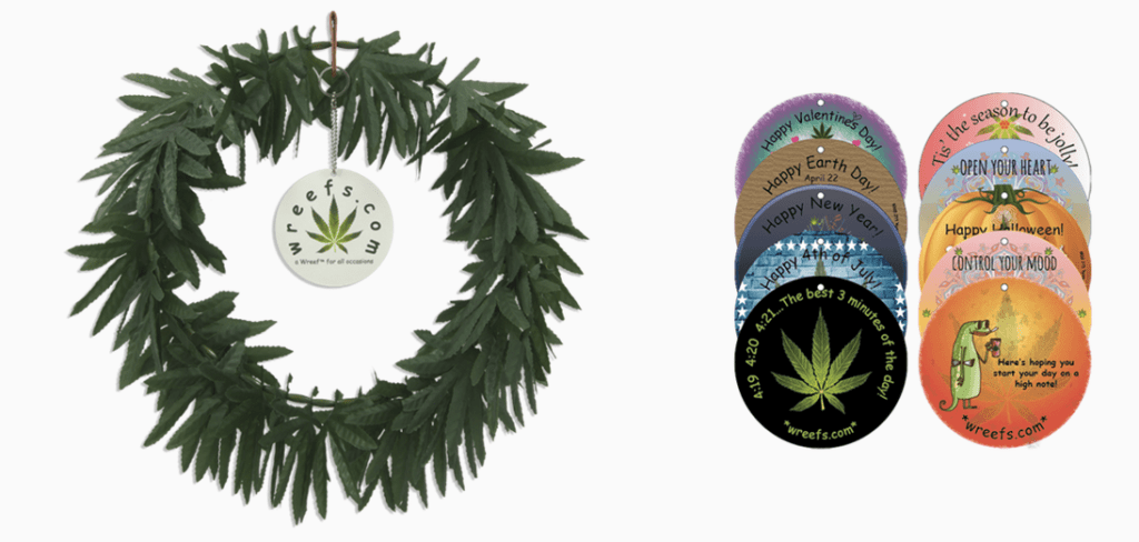 Pot leaf wreath the Wreef and hang tags