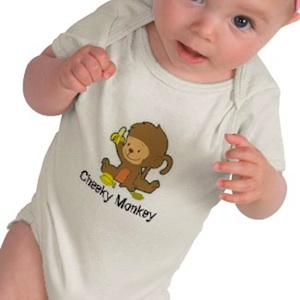 Baby Bodysuit with a cute monkey printed on it