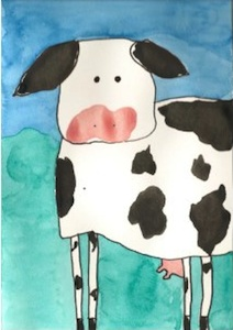 Painted cow postcard