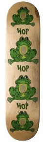 Frog skateboards with tons of green hop hop frogs