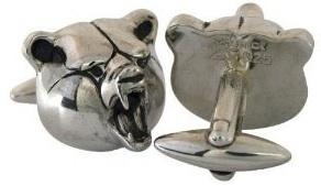 Silver Grizzly bear cufflinks