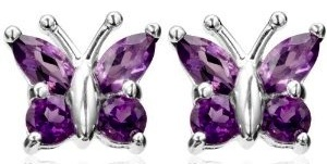 real amethyst butterfly earrings