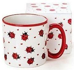 A mug with lady bugs