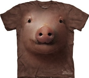 A t-shirt with a the face of a pig coming out