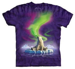 Polar Bear t-shirt in the northern sky