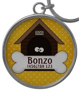 doghouse with dog eyes id tag key chain