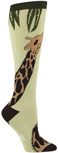 Socks with Giraffe on them and they are knee high socks