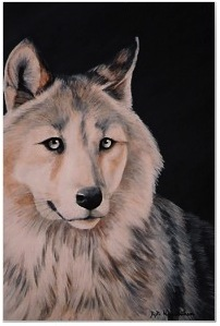 white wolf print poster