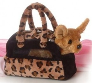 Plush Chihuahua with Pet Carrier