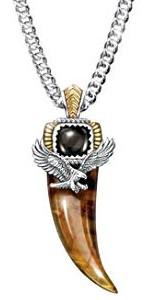 Majestic Power Genuine Tiger's Eye And Black Onyx Eagle Talon Pendant Necklace