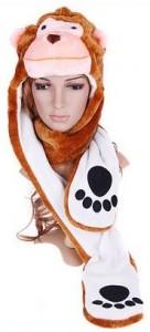 Monkey Plush Hat Attached Gloves