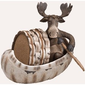 Moose in a canoe with coasters