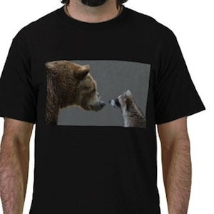 Grizzly Bear meets raccoon t-shirt
