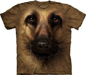 German Sheperd dog face t-shirt