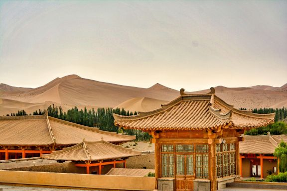 Crescent Lake, Dunhuang, Silk Road Hotel roof top view