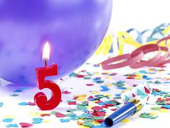 Birthday candles showing Nr. 5