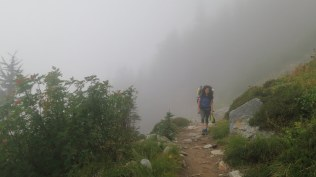 Heading up in the fog...