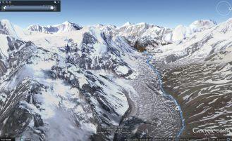 Google Earth Rendering of our tracks over Larkya Pass - 5,106m (16,752ft)